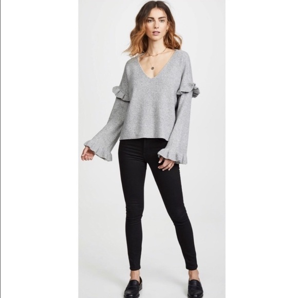 Cupcakes and Cashmere Ruffle Slouchy Sweater Grey